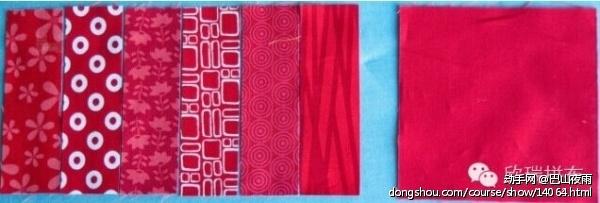 6块布料按颜色排列好顺序。