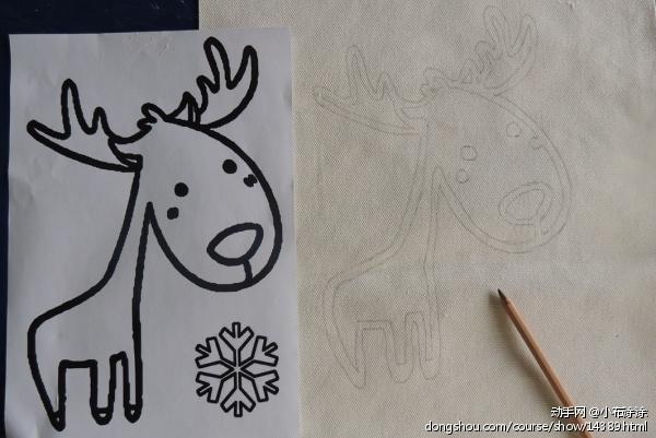 第二步绘画,在布上画出你喜欢的图案