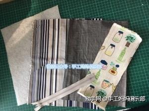 30*23cm的表布、里布、铺棉各一块  9*18cm表布两块  装饰花布一块  包边条若干  拉链一条