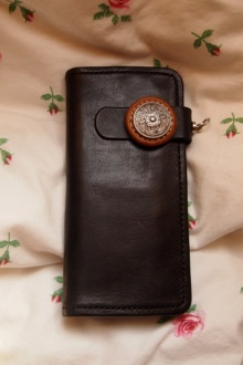 圣诞节礼物 植鞣革染色长钱夹