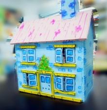 韩舍手作~~饼干盒房子/米奇裤子杂物桶/手工纸袋——以前做的几个小玩意儿