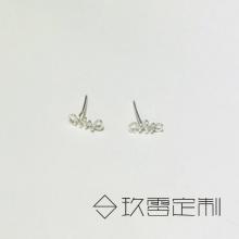 【 925银绕线耳钉】鱼骨