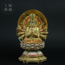 【瓯越工艺】准提观音 木制佛像手工彩绘居家供奉密宗佛像手工木雕佛像