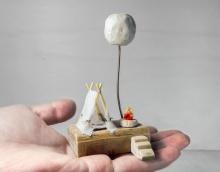 梦星球帐篷篝火景观模型家居装饰艺术摆件摄影道具节日创意礼物