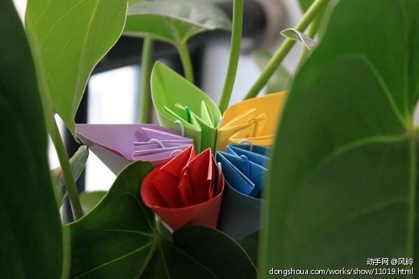 初次接触折纸艺术 两朵小花