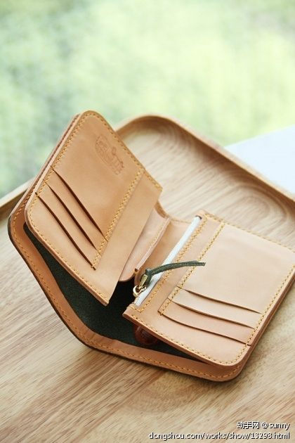 墨绿色枥木鞍革中型财布两折钱夹钱包