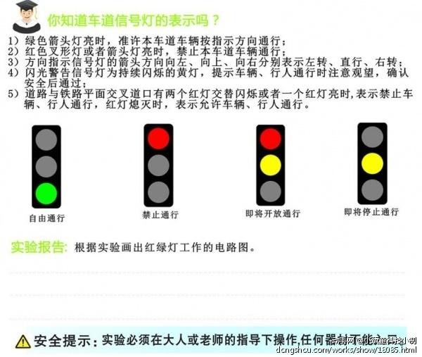 红灯停,绿灯行,斑马线上才安全。是不是每当听到这首儿歌,就会想到马路上的红绿灯呢?但是你知道红绿灯为什么一会红一会绿么? 实验重点 理解红绿灯是并联电路的应用 实验目的 1.认识电子元件并了解其应用 2.接触简单的电路 实验认知 认识各远见的作用:电池-提供能量;灯泡-将电能转化为光能;导线-连接元器件及传导电流,也就是电沿着传电的物体朝着一定的方向有规律的流动,是看不见,摸不着的;开关-控制电路;电池盒-放置电池。 电流流过的回路叫做电路,又称到电回路。最简单的电路,是由电源、负载、导线、开关等元器件组